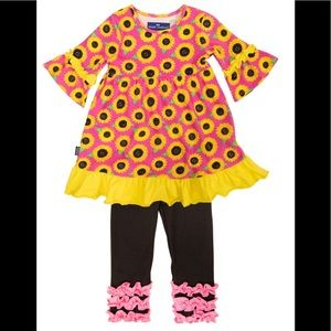 NWT Simply Southern Toddler Kentucky Sunflower Set